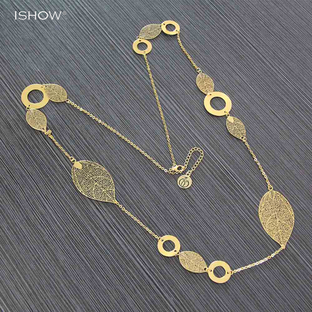 Fashion Bohemian Hollow Out Leaves Pendant Necklace Vintage Gold Choker Collier Sautoir Long Necklaces For Women Jewelry