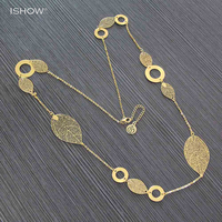 Fashion Bohemian Hollow Out Leaves Pendant Necklace Vintage Gold Choker Collier Sautoir Long Necklaces For Women Jewelry