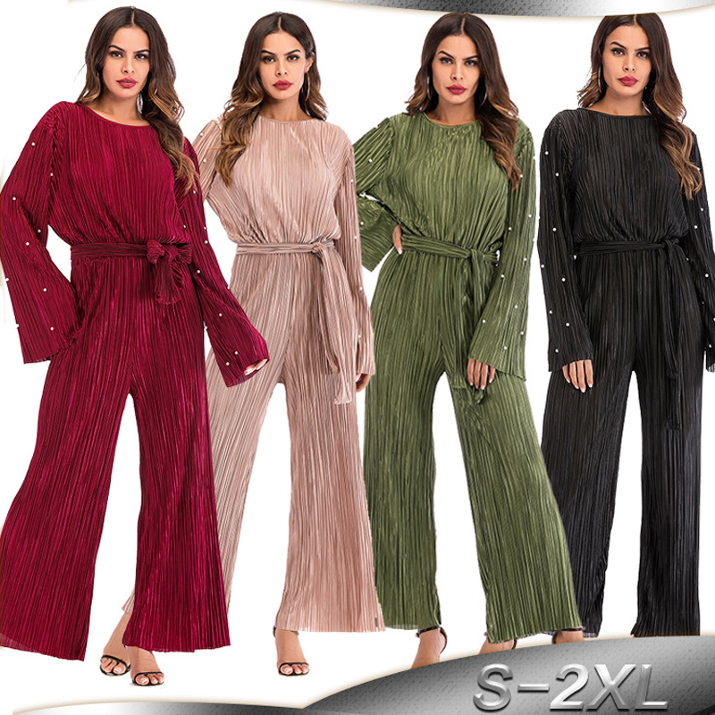 Abayas For Women Caftan 2019 Abaya Dubai Kaftan Long Maxi Pleated Wide Leg Jumpsuit Muslim Hijab Dress Turkish Islamic Clothing