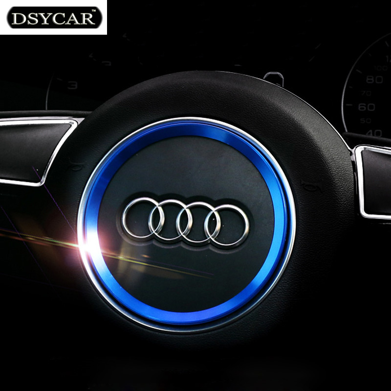 * DSYCAR Aviation aluminum alloy Car Steering wheel decoration ring sticker logo Decals Car styling for Audi A3 A4L Q3 Q5 A5 A6L genuine leather car steering wheel cover for audi a4l a6l a3 q3 q5 q7 car accessories styling