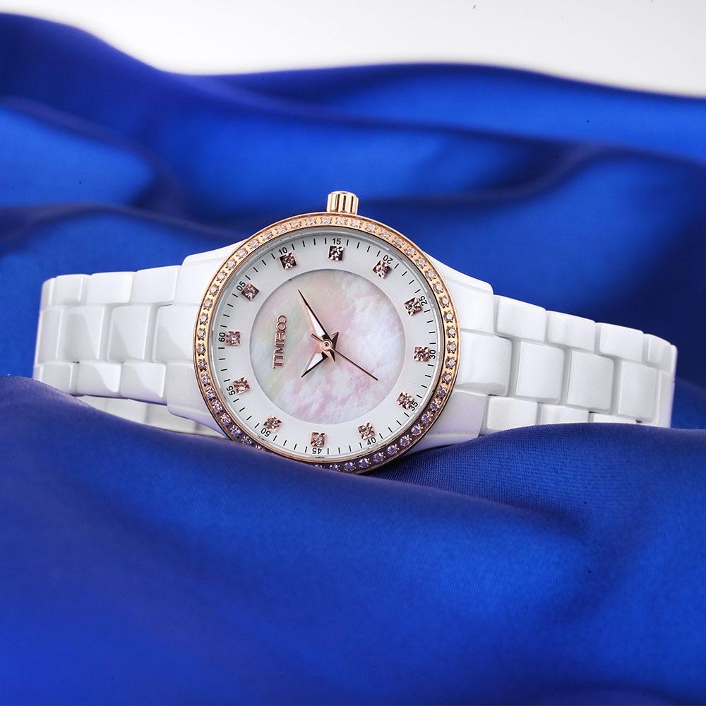 Saat100 Yeni Qadın Seramik Qol Saatları Lüks Moda ağ Yüksək - Qadın saatları - Fotoqrafiya 3