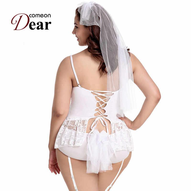 7e205df2d64 ... Comeondear Plus Size White Wedding Lingerie Hot Sex Outfit Short Mini Lace  Bride Baby Doll Dress ...