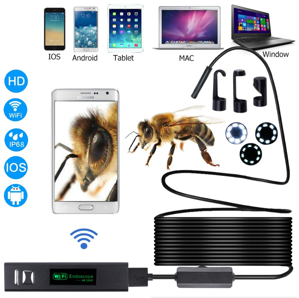 WIFI endoscopio cámara HD 1200 P 1-10 m Mini impermeable alambre duro inalámbrico 8mm 8 LED Borescope para Android PC IOS endoscopio