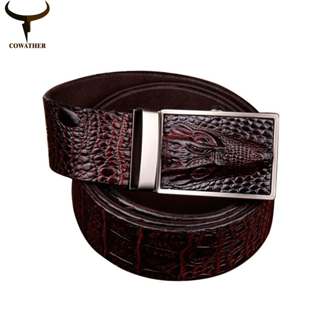 COWATHER 2016 good quality cow genuine leather belts for men alligator pattern automatic buckle mens belt  free shipping