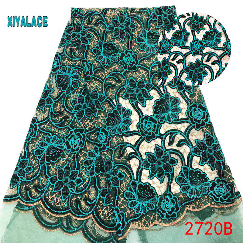 African Lace Fabric 2019 High Quality Nigerian Lace Fabrics Embroidery French Tulle Lace Fabric YA2720B-1
