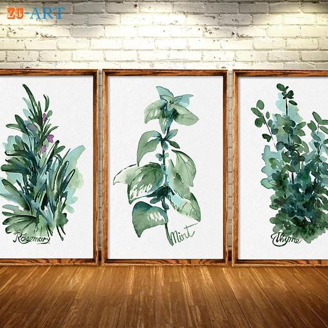 Framed Canvas Art Herbs Kitchen Art Prints Green Leaves Mint ...