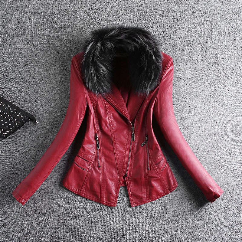 Hairy Fur Collar Women Faux PU   Leather   Jacket Lady Locomotive Pu Washing Female Clothing Hip Hop Red Black