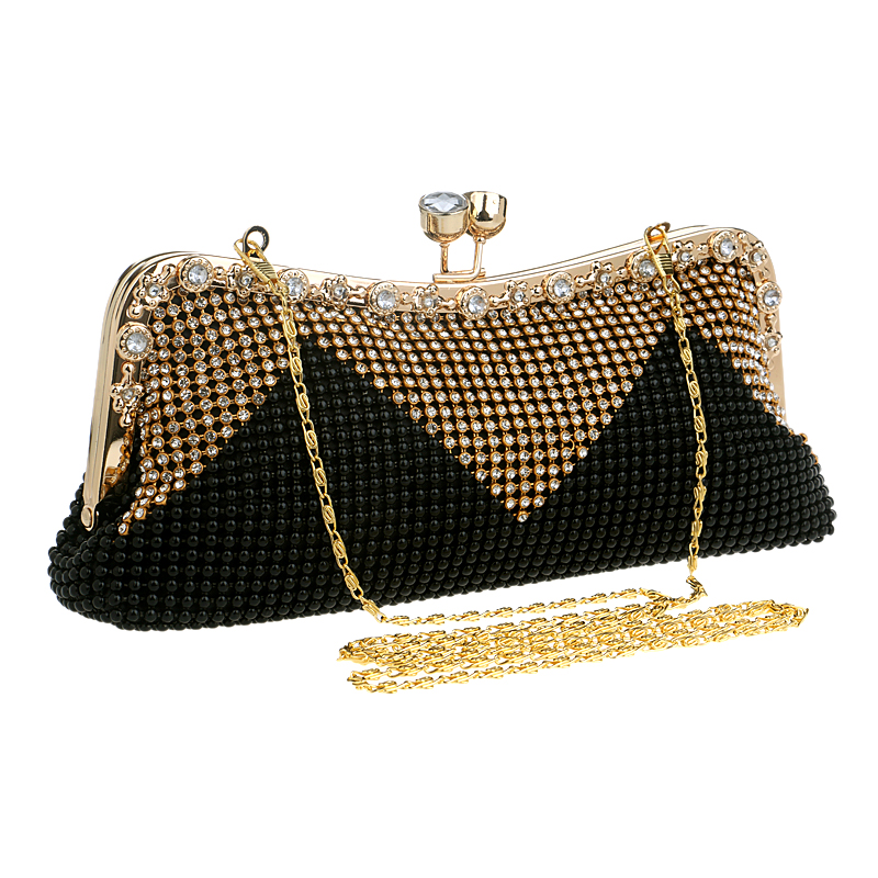 Wedding Bridal Beaded Women Evening Bag Chain Shoulder Handbags Mixed Color Soft Rhinestones ...