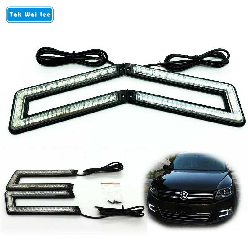 Tak Wai Lee 2X U Shape LED DRL Daytime Running Light 12W External Car Styling Brake & Steering lamp Black Shell Auto Fog lapms