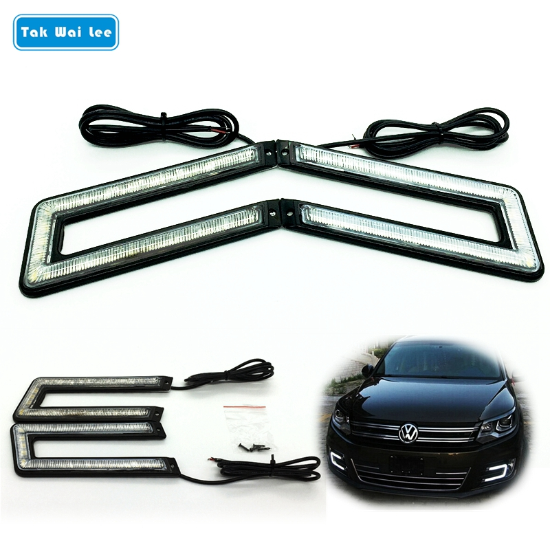 Tak Wai Lee 2X U Shape LED DRL Daytime Running Light 12W External Car Styling Brake & Steering Lamp Black Shell Auto Fog Lapms