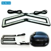 цена на U Shape 2Pcs/Set LED DRL Daytime Running Light 12W External Car Lights Styling Brake & Steering lamp Black Shell Auto Fog lapms