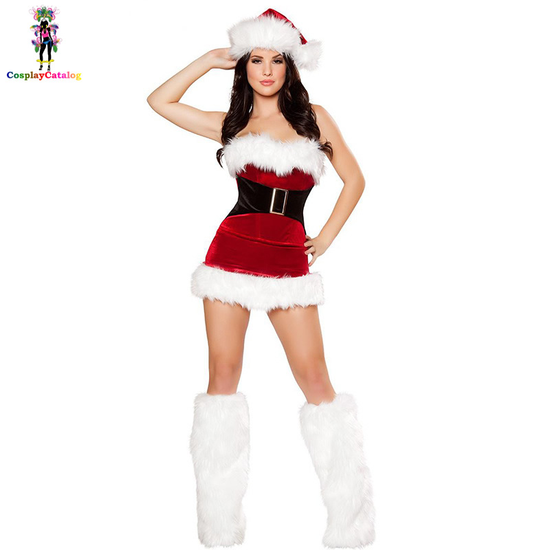 Christmas Adult Sexy Women Mistletoe Velvet Costumes Santa's Cutie Costume Female Mini Furry Dresses Santa Outfit Uniforms