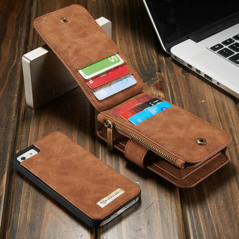 CaseMe For iPhone SE 5S 5 Wallet Case with Detachable Slim TPU PC  Case,Luxury Handmade,TRIFOLD Leather Cover For iPhone 5 Wallet