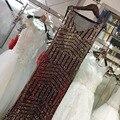 Oro Lentejuelas Brillantes Sheer Volver Plata Rosa Sirena vestidos de Noche Vestidos Longo 2017 V Cuello Sexy Party Prom Vestidos Robe De Soirée GT53
