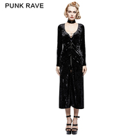 PUNK RAVE Gothic Retro Slim Long Knitted Woman Dress Coat Y 735