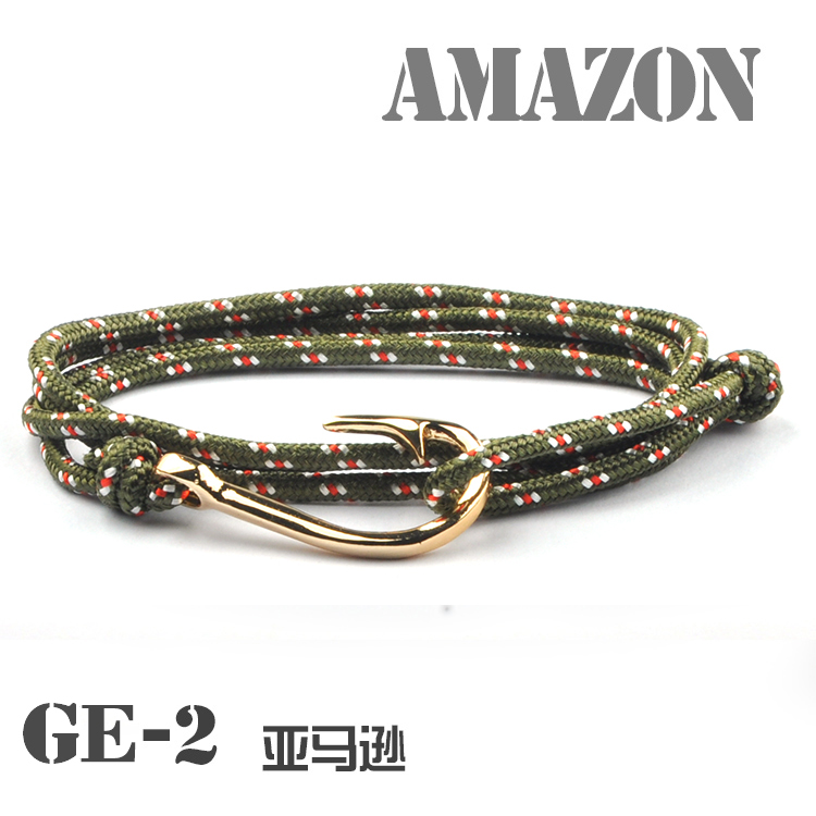 2017 Fashion Fish Hook Bracelet Rope Bracelets Wrap Uni Women Men Kqs