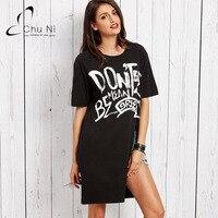 2017 T Shirt Sexy Fashion Women Tops O Neck Long Split Black T Shirt Casual Letter
