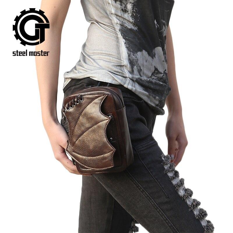 Gothic Steampunk Handbags Leather Waist Bag Unisex Rock Motorcycle Leg Bag Brown Waist Packs Punk Retro Crossbody Shoulder Bags
