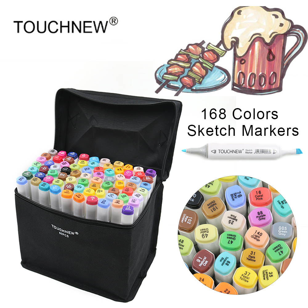 TOUCHNEW 168 Colors Dual Headed Sketch Markers Pen Oily Alcohol Painting Manga Art Marker Set Stationery Pen For School Drawing