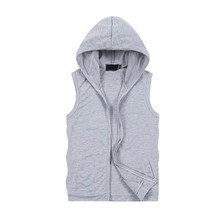 Men's Casual  Sleeveless Zip Vest Waistcoat  Long Tops Hooded Coat Outwear цена 2017