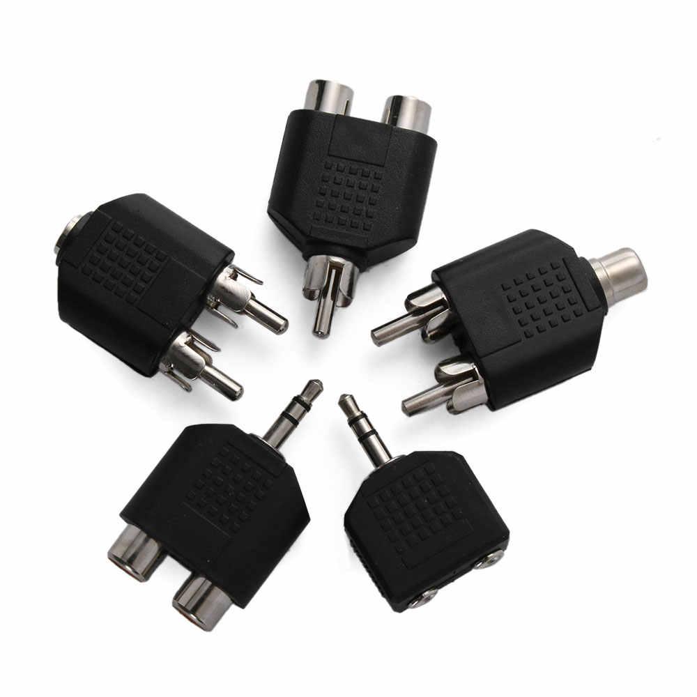 RCA Y Splitter AV Audio wideo konwerter wtyczki 1 męski na 2 żeńskie Adapter 3.5mm Jack wtyczka RCA, aby dokładnie konwerter