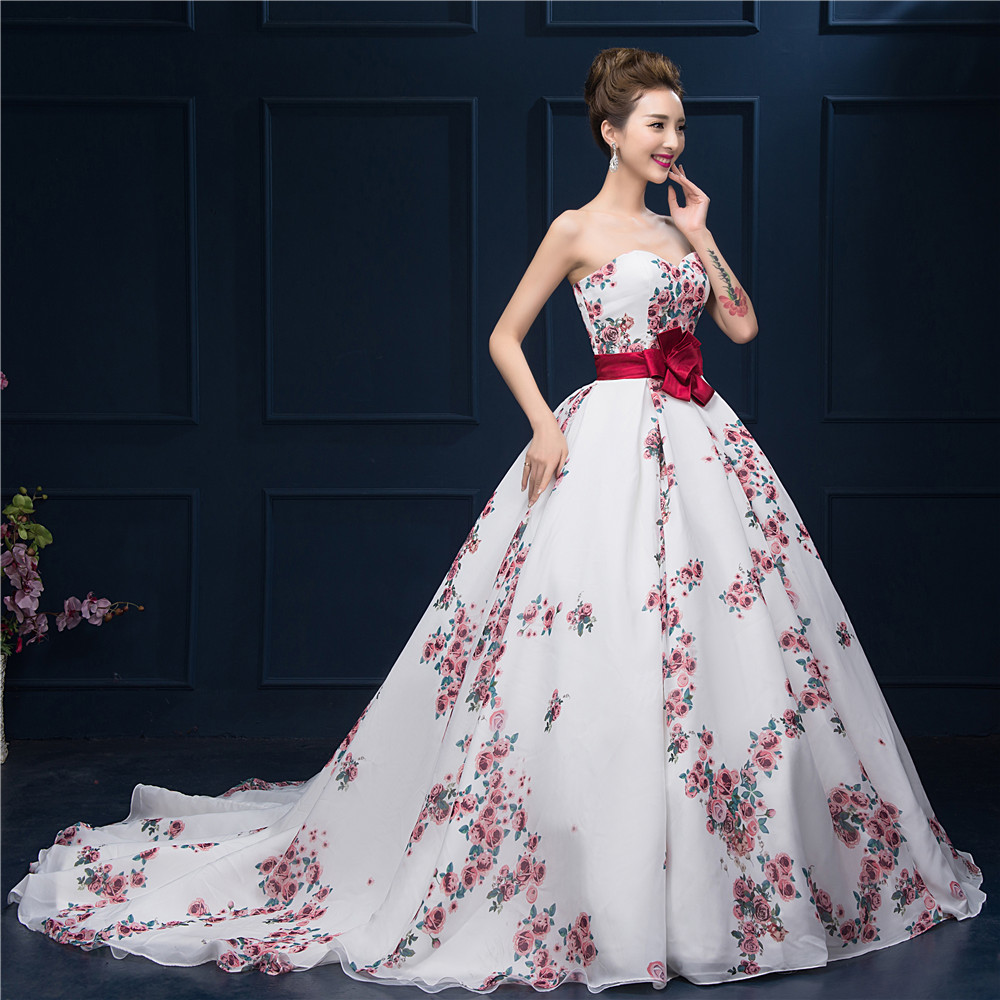 Formal Gown For Wedding: Floral Printed Ball Gown Prom Dress 2016 Sweetheart
