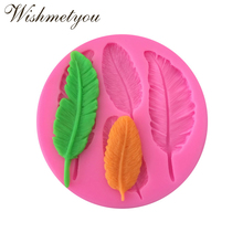 WISHMETYOU Leaves Silicone Soap Mold Decoration Feathers Shaped Chocolate Accessories Cake Decorating Tools Diy Handmade Crafts