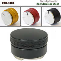 51/58mm 304 Stainless Steel Coffee Tamper Base Clear Body Barista Espresso Coffee Press Coffee Powder Hammer