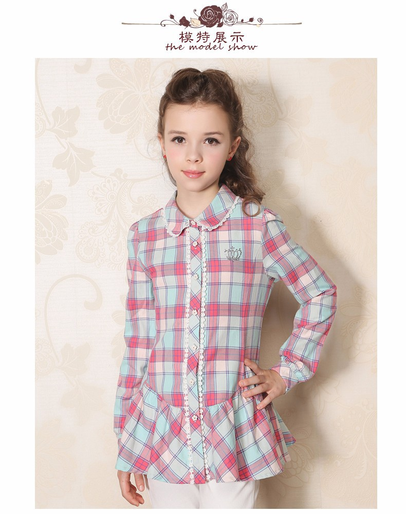 827a5b1b8bd7 Baby Shirts Child Shirt Kid Girls Tops Blouses Lattice Shirt 2015 ...