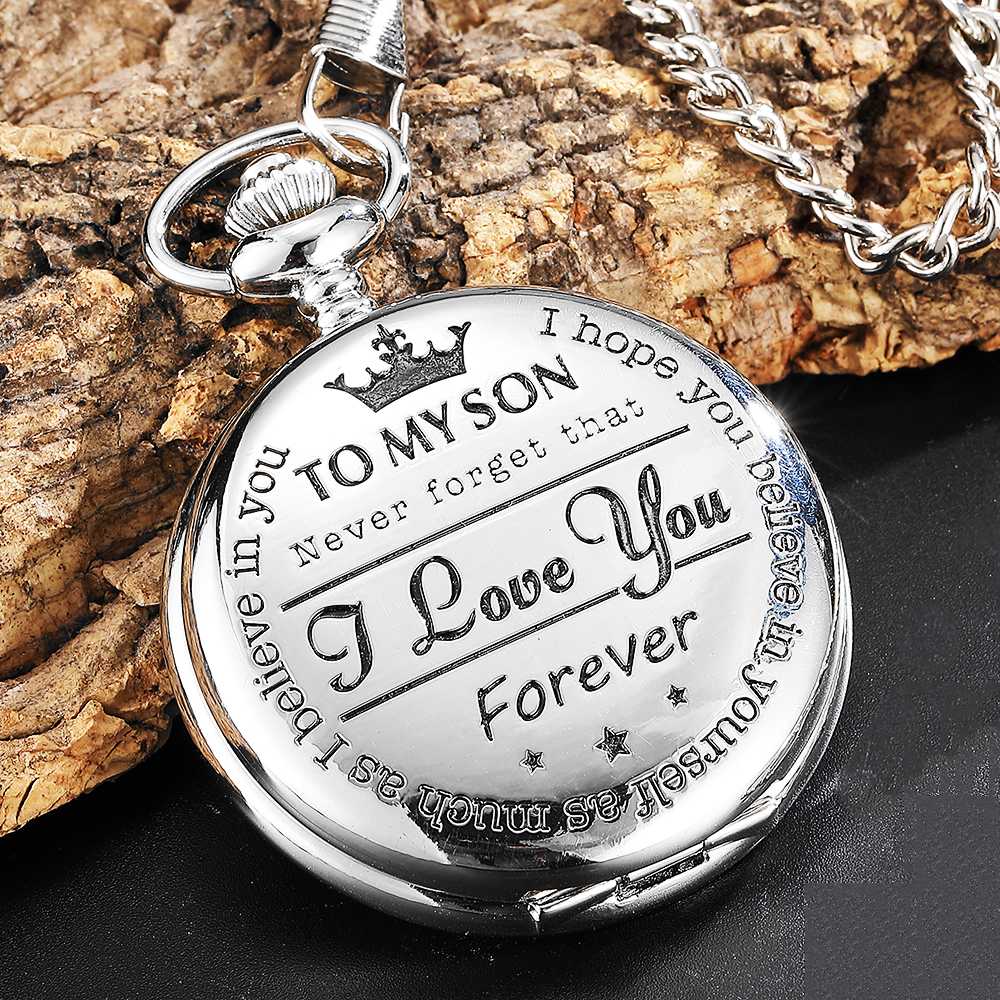 Quartz Pocket Chain Watch To My Son THE GREATEST DAD Necklace Watches For Men Children's Day Kids Gift Present Reloj De Bolsillo