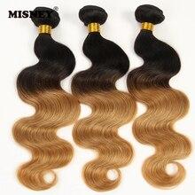 Перуанские волосы, не Реми, двухтонный Омбре, волнистые волосы T1B30, плетение 12inch-30inch3 Связки