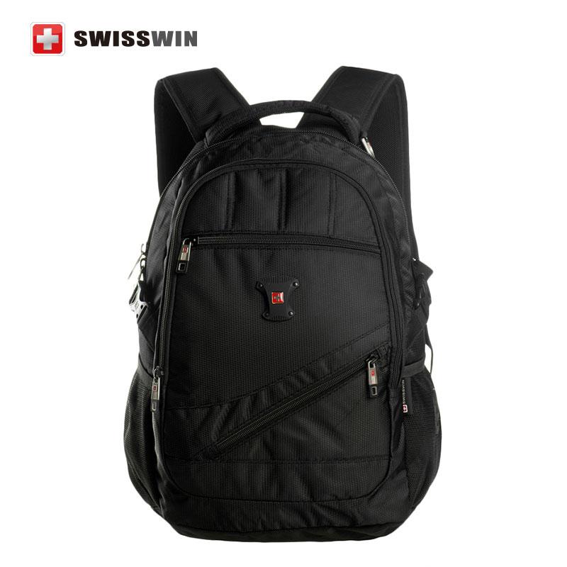 Swisswin Black Business Backpack Male Swiss Military 15 Computer Bag Mochila masculino Orthopedic Backpack Back Pack swisswin black business backpack sw9218 male swiss 15 6 computer swissgear wenger bag 23l mochila