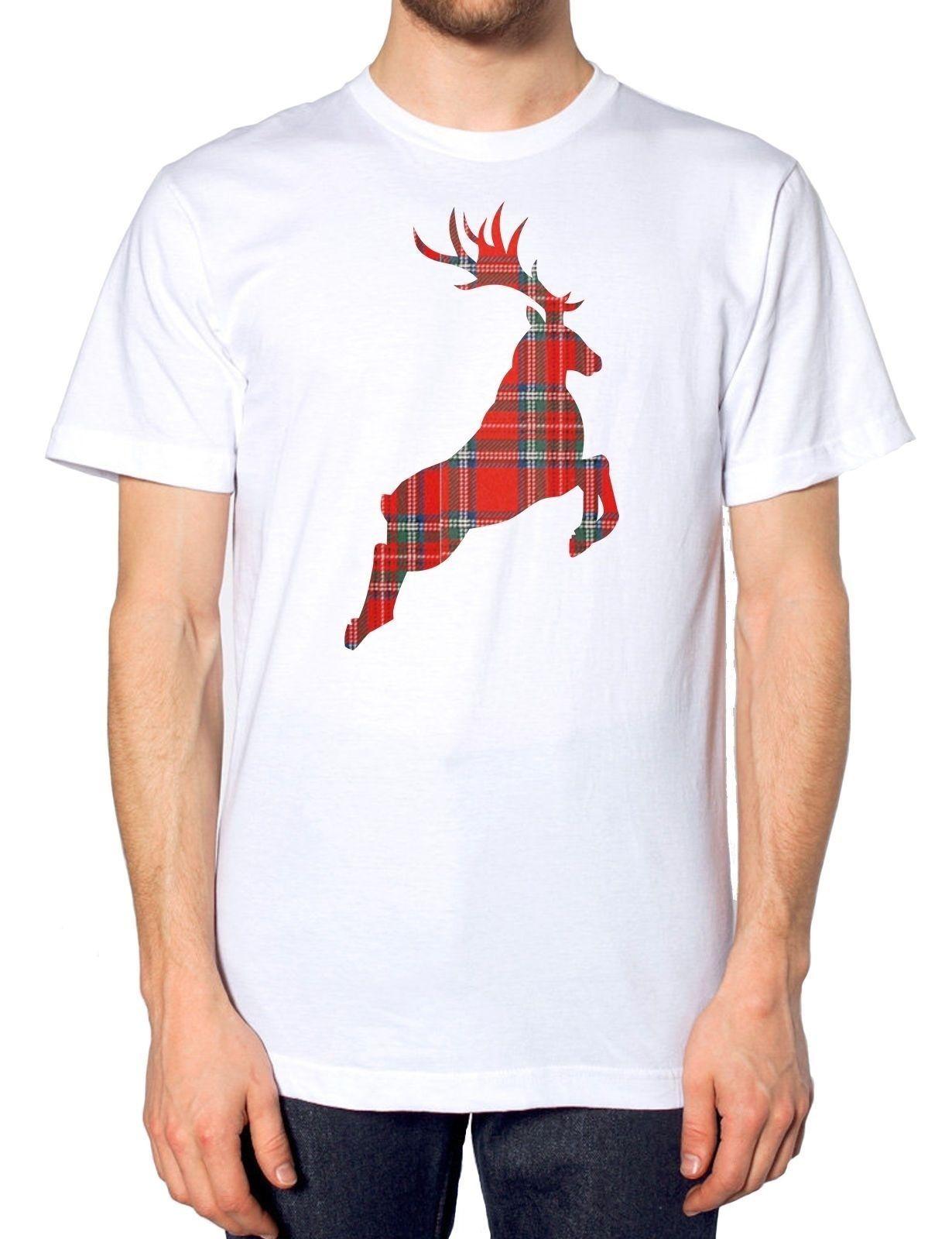 font b Tartan b font Reindeer CHRISTMAS T SHIRT Present Festive Gift Top Novelty Santa
