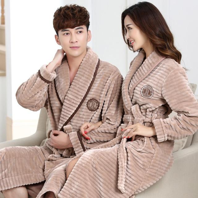 c958bc28c5 Warm Winter Flannel Men Bathrobe Women Autumn Thick Velvet Coral Fleece  Bath Robes Couple Luxury Belt