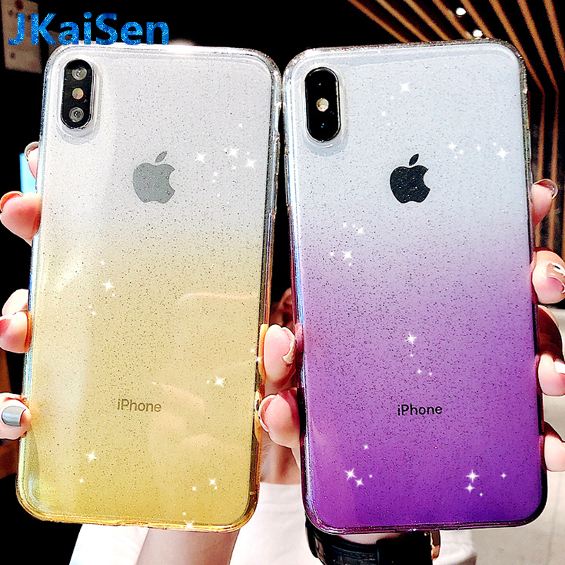 Luxury Shiny Gradient Case for Apple iPhone 5 5S SE 6S 7 8 Plus Ultra Thin Cases Cover for iPhone X XR XS MAX Coque Fundas Capa in Fitted Cases from Cellphones Telecommunications