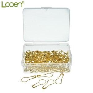 Looen Brand 100 Uds alfileres en forma de pera de acero, Garment Gourd Safety Pin Hangtag Seal Metal Color dorado DIY accesorio de herramientas de costura