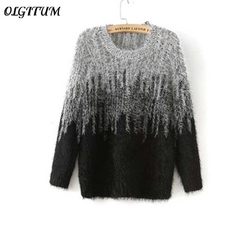 d2440a2c20b5 Free shipping Autumn New Women Pullovers Two Color Gradient Color Mohair  Sweaters Pullover O Neck Thicken warm Knitted Sweaters -in Pullovers from  Women s ...