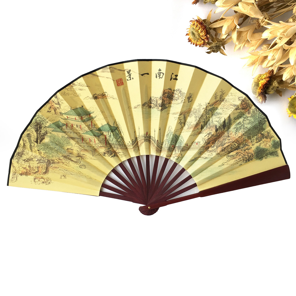 Free Shipping 100pcs Polyester Wood Hand Fans Chinese Vintage Fancy ...