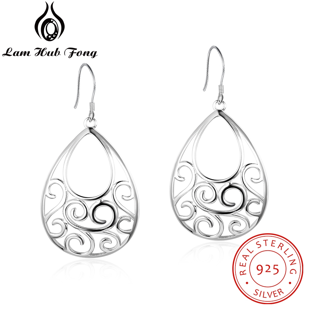 Geometric Style 925 Sterling Silver Dangle Earrings Hollow Filigree Chandelier Earrings Women Statement Earrings (Lam Hub Fong)