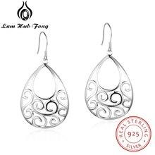 Geometric Style 925 Sterling Silver Dangle Earrings Hollow Filigree Chandelier Earrings Women Statement Earrings (Lam Hub Fong) faux crystal filigree chandelier earrings