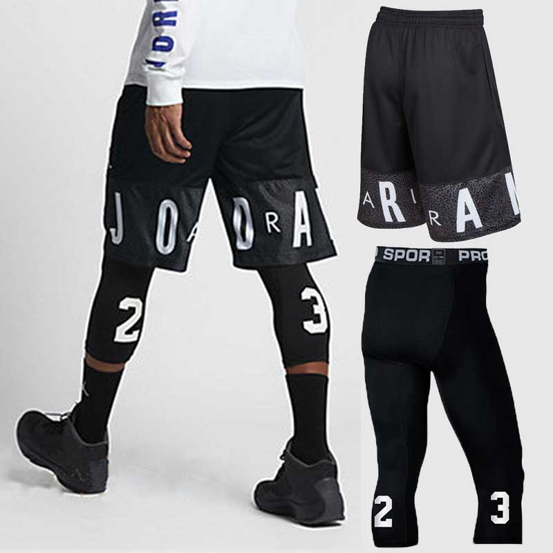 Men Basketball Sets Sport Gym QUICK-DRY Workout Board Shorts + Tights For Male Soccer Exercise Hiking Running Fitness Yoga 85022 quần combat bóng rổ