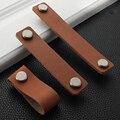 1 шт. мягкие кожаные мебельные ручки для двери, шкафы, шкаф, Выдвижная рукоятка для оборудования кухни