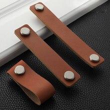 1 pc puxadores de móveis de couro macio para portas armários cômoda armários armário gaveta do armário puxa botão lidar com ferragem cozinha