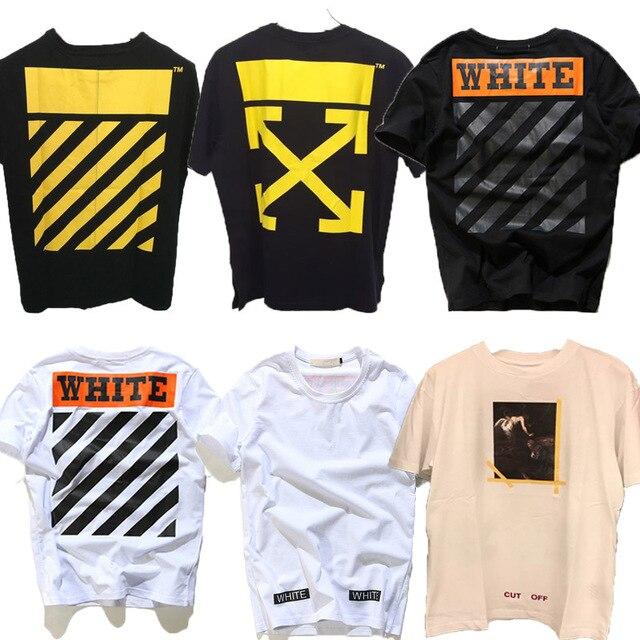 2017 Justin Bieber 1:1 OFF WHITE 13 Virgil Abloh Alta Qualidade marca clothing t shirt das mulheres dos homens yeezy corte fora do palácio tees TShirt