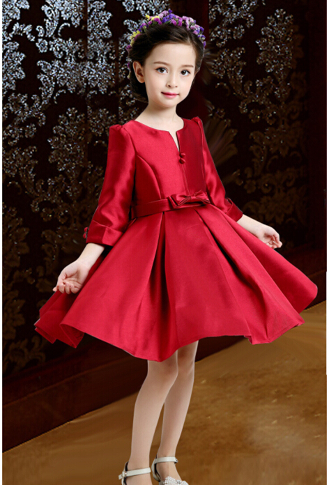Retailer  2016  Girls Dress Sale red  New Arrival Costume Fashion Long sleeve dress   Children Party Clothes Ready In Stock