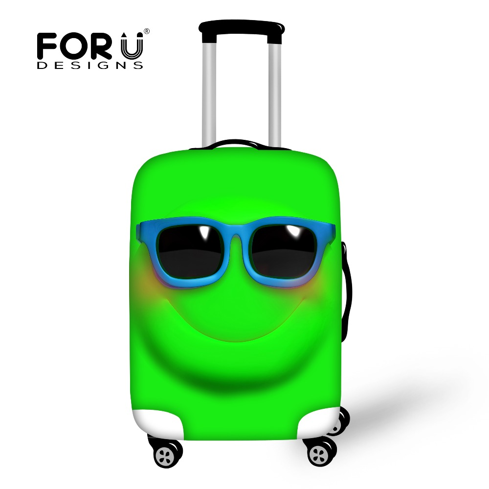 """Funny Emoji Face Women Travel Waterproof Bags Luggage Case Cover Elastic Stretch Protect Suitcase Covers Apply to 18""""-30"""" Case"""