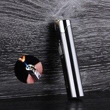 Portable Ultra-thin Long Strip Metal Windproof Lighter Grinding Wheel Small Spray Gun Fixed Fire Blue Flame Butane Gas
