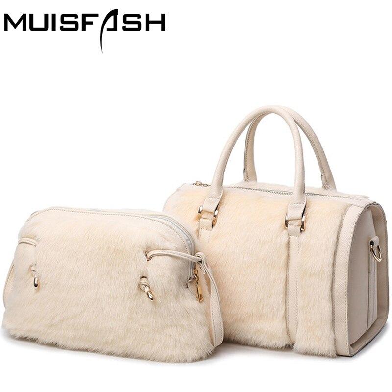 ФОТО new arrivals rubbit fur women handbag ladies messenger bag crossbody bags leather handbags set shoulder bag bolsas totes LS1073
