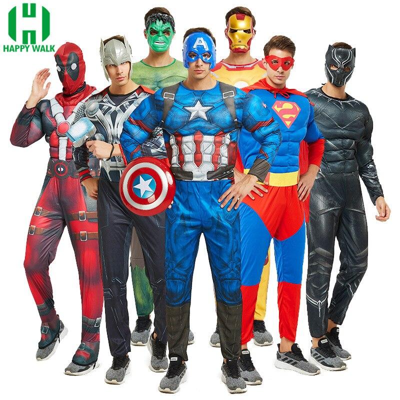 Halloween Adult Muscle Super Hero Captain America Costume SpiderMan Batman Hulk Neptune Wolverine Optimus Prime Cosplay Costumes