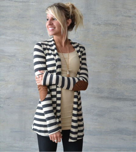 2018 New Fashion Autumn Winter Women Long Sleeve knitting cardigan sweater Womens Female Striped Cardigan pull femme